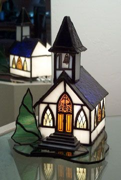 3D lighted Stained Glass church