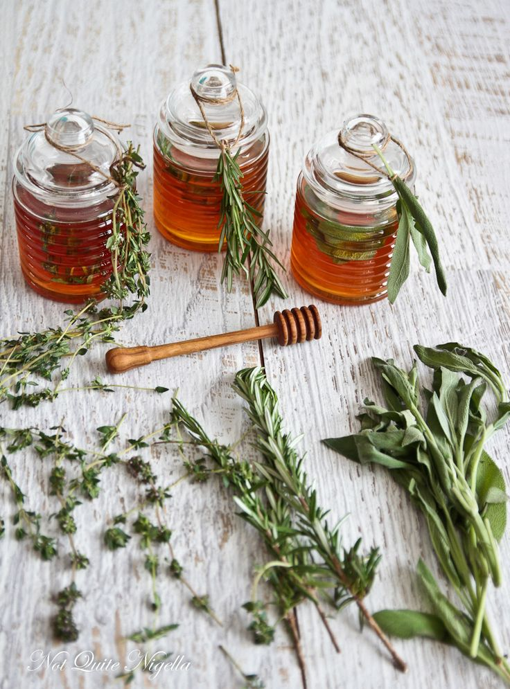 Make your own rosemary, lemon thyme and sage honeys (hello, hostess gifts!). #DIY