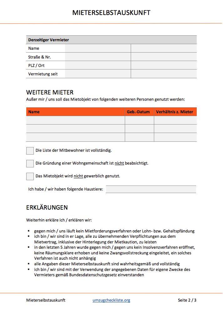 Mieter Selbstauskunft Formular Download
