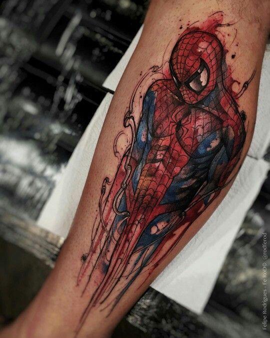 Tattoo Aquarela. Macho Moda - Blog de Moda Masculina: Tatuagem Aquarela - Pra Inspirar e Indicações de Tatuadores. Watercolor Tattoo. Tatuagem Masculina Aquarela. Moda Masculina, Moda para Homens, Tatuagens Masculinas. Tatuagem Spider Man, Tatuagem Homem Aranha, Spider Man Tattoo, Tattoo Aquarela Spider Man.