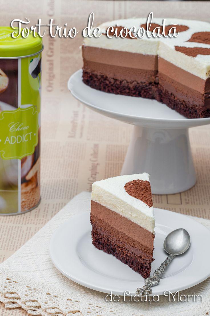 Un tort spectaculos de ciocolata, cu blat pufos de cacao si trei feluri de creme fine si absolut delicioase! Pentru cei ce...