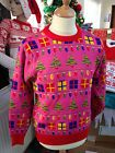 MENS LADIES XMAS CHRISTMAS JUMPER SWEATER PINK LIGHTS PRESENT NOVELTY XS S M L   http://stores.ebay.co.uk/Crystal-Knitwear-Online?_rdc=1