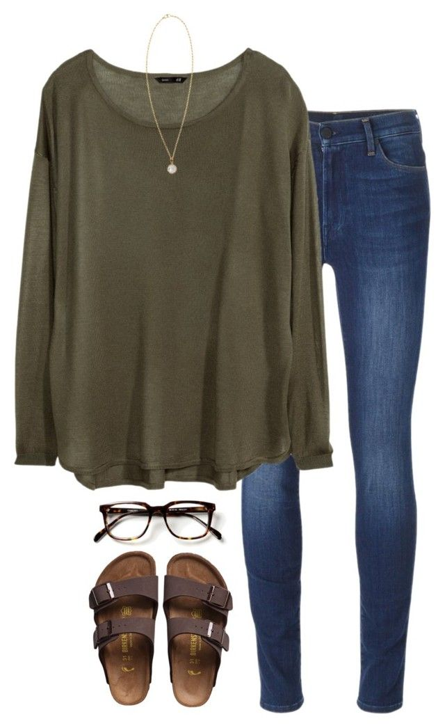 #summer #outfits / Green Longsleeve + Birkenstock Sandals