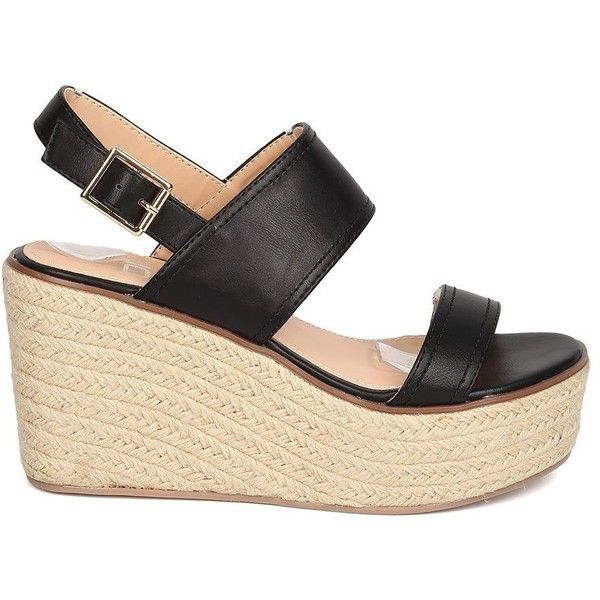 Women Leatherette Espadrille Platform Wedge Dressy, Casual, Everyday... (41 AUD) ❤ liked on Polyvore featuring shoes, sandals, black slingback sandals, platform wedge sandals, black dressy sandals, dressy sandals and black espadrilles