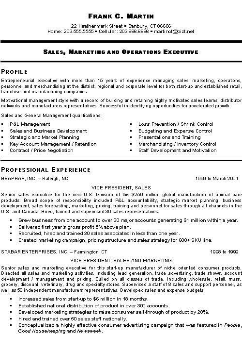 Marketing Sales Executive Resume Example Executive Resume Sales Resume Examples Job Resume Examples