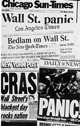 October. 19, 1987 Black Monday stock market crash. This was the largest one-day market crash in history where the Dow lost 22.6% of its value that equalled $500 billion dollars.