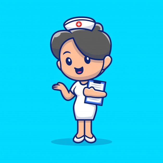 Cute Nurse Icon Illustration Nurse Cartoon Medical Icon Icon Illustration