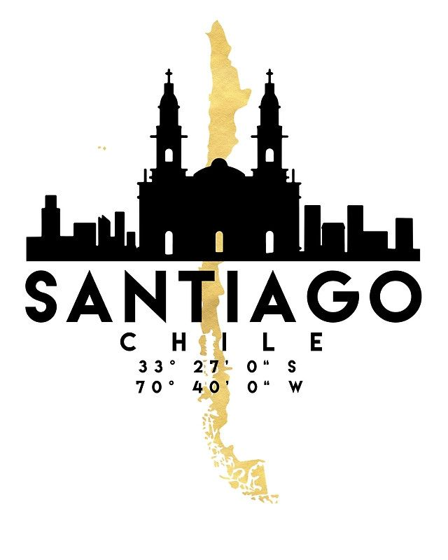 SANTIAGO DE CHILE SILHOUETTE SKYLINE MAP ART -  The beautiful silhouette skyline of Santiago and the great map of Chile in gold, with the exact coordinates of Santiago make up this amazing art piece. A great gift for anybody that has love for this city.  santiago chile downtown silhouette skyline map coordinates souvenir gold