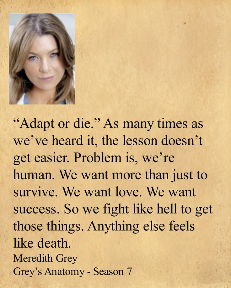 """Adapt or die."" As many times as we've heard it, the lesson doesn't get easier. Problem is, we're human. We want more than just to survive. We want love. We want success. So we fight like hell to get those things. Anything else feels like death.  Meredith Grey    Grey's Anatomy - Season 7"