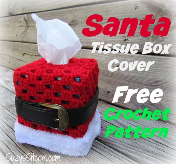 crocheted santa tissue box cover pattern