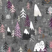 Forest Peaks (charcoal + plum) by nouveau_bohemian
