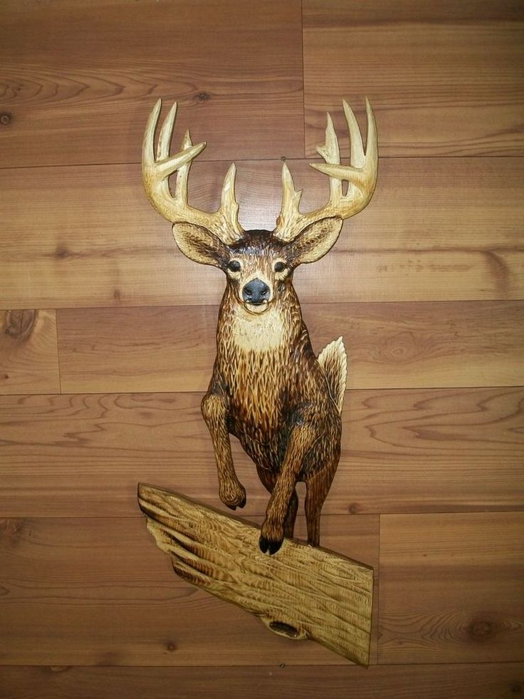 New hand carved whitetailed deer buck jumping chainsaw