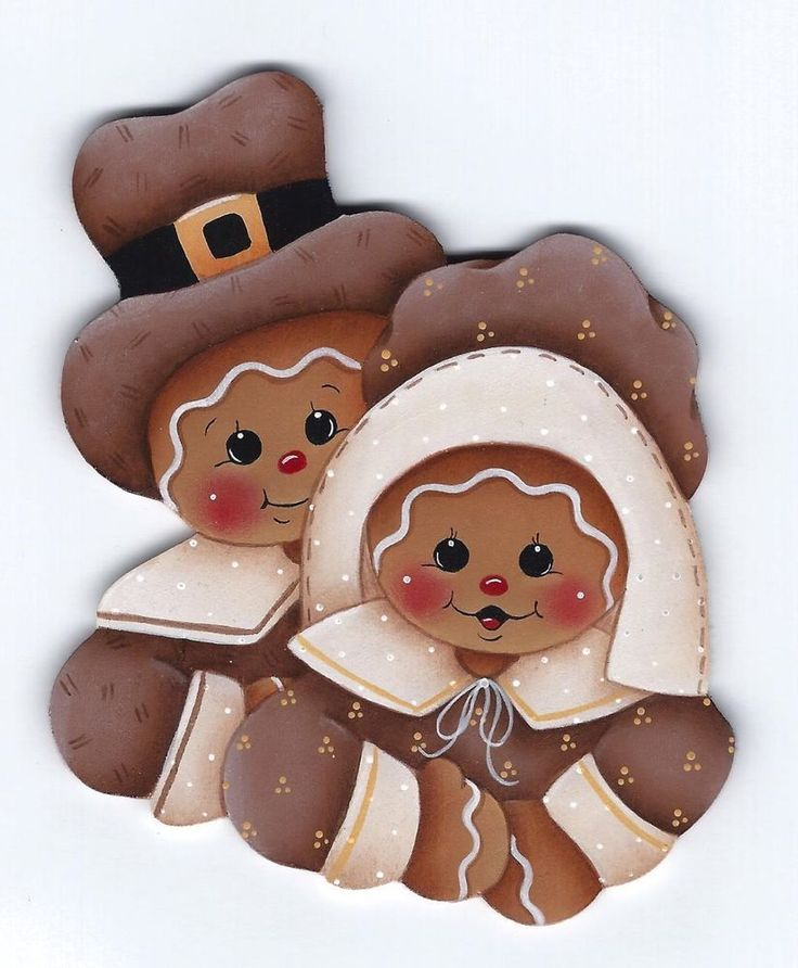 HP GINGERBREAD Pilgrims FRIDGE MAGNET Handpainted  stonehouse28