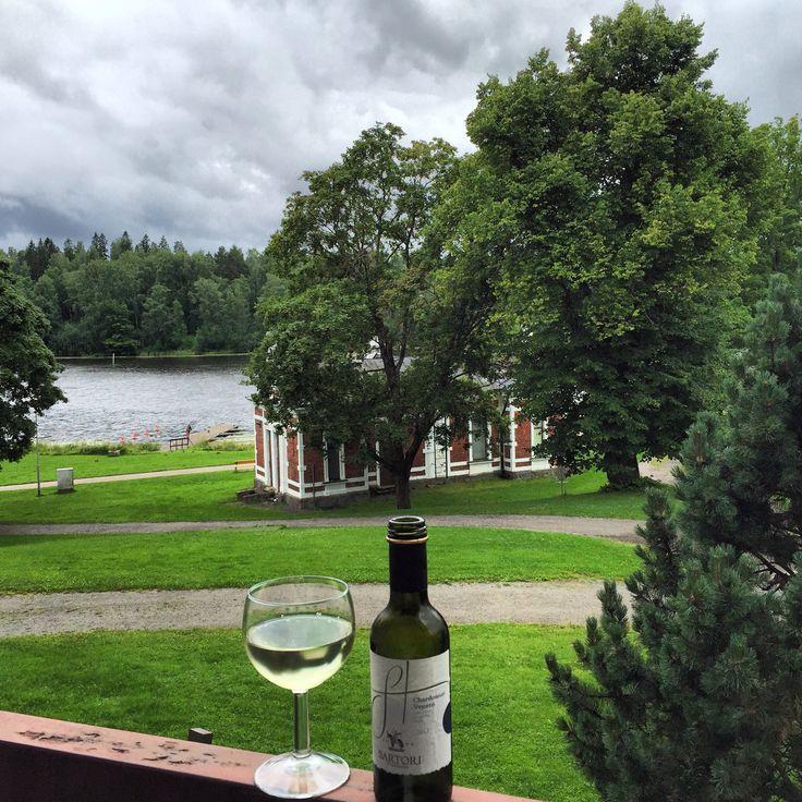Sartori di Veneto white wine at hotel balcony in Aulanko, Finland - room with a view