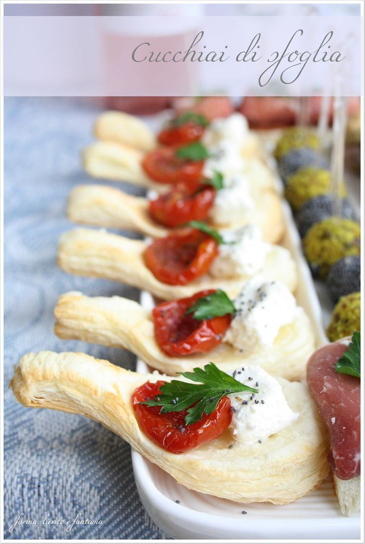 Puff pastry canape spoons :-) cute! Am so gonna try to make these...