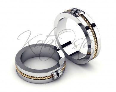 Элегантные обручальные кольца из белого золота с черными бриллиантами KO-OKB214G