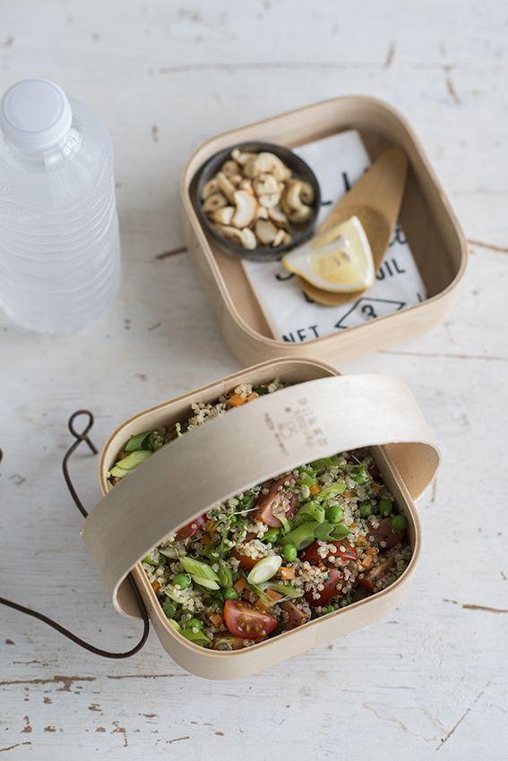 Quinoa met honingtomaatjes, erwtjes, wortel en cashewnoten • Nooit meer diëten