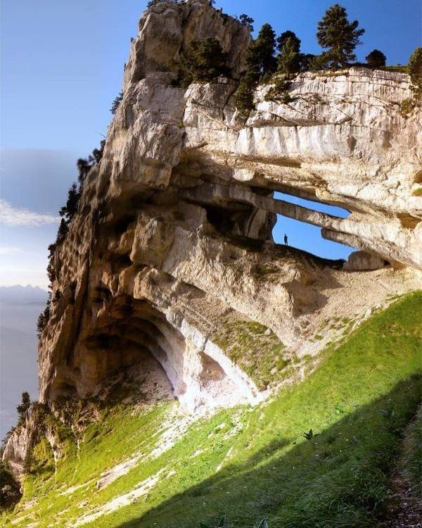 The Tour Percée double arch, also named the Tour Isabelle arch, is a double natural arch, located in the Parc Naturel Régional de la Chartreuse, Chartreuse Mountains, France.