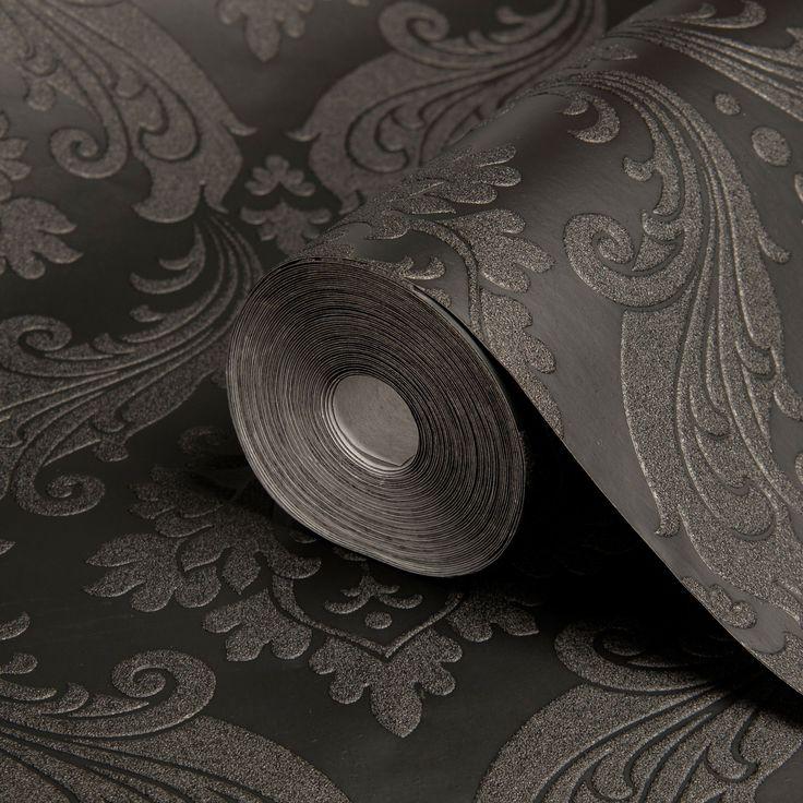 Best Graham Brown Kelly Hoppen Vintage Black Damask Wallpaper Departments… Flock Wallpaper 640 x 480