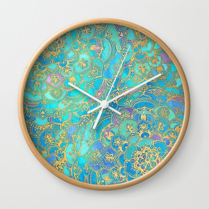 Sapphire Jade Stained Glass Mandalas Wall Clock By Micklyn Society6 Wall Clock Art Stained Clock