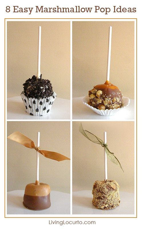 8 Easy Ways to Decorate a Marshmallow Pop! Fun No-Bake Party Recipe Ideas. Quick, easy and delicious with chocolate, Oreo cookies, caramel and more! LivingLocurto.com