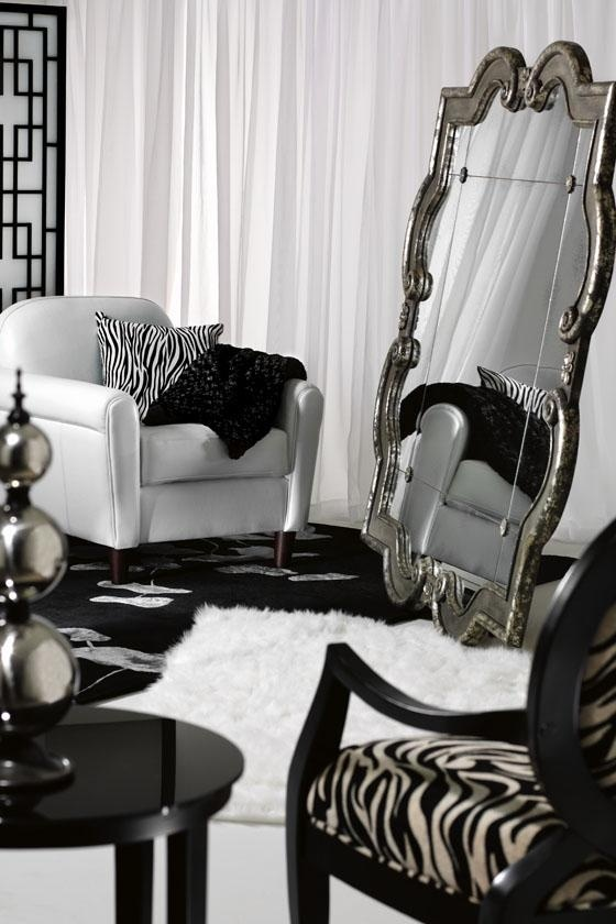 Mirror on floor in a high contrast design. Get the antiqued mirror @AnnabelleStyle.com