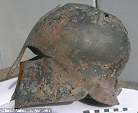 Greek Helmet (6th-5th century BC) found in the sea near Haifa, Israel - made from a single sheet of bronze, gilded and ornamented, it's likely that the helmet belonged to a mercenary Greek warrior stationed there during the Persian wars