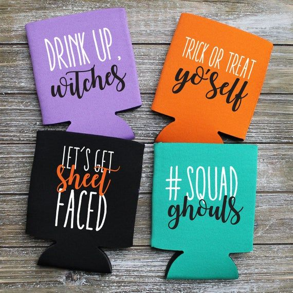 Halloween Party Favor Can Coolers Drink Up Witches In 2020 Halloween Party Favors Halloween Koozie Koozie Craft