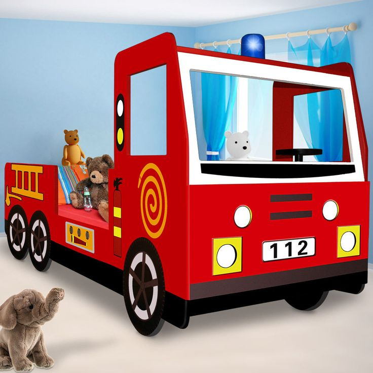 Fire Department Fire Engine Bed 205 x 94.5 x 103 cm. - Colorful fire engine bed. A great surprise for your child: This nice, red fire truck bed not only ensures great sleeping-comfort, it gives your youngster eventful dreams.   eBay!