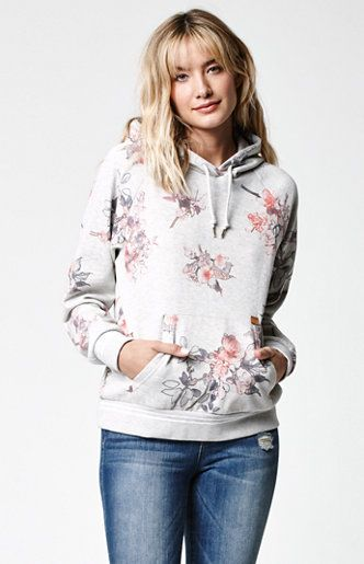 Online Only!The women'sHarper Floral Print Pullover Hoodie from OBEY features a relaxed fitting, raglan style with a kangaroo pocket and striped rib details. The pullover hoodie has a cutom OBEY floral print for a sporty meets feminine athletic feel.   60% polyester, 40% cotton