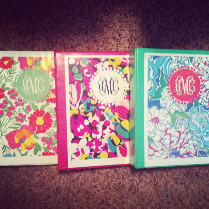 Lilly Pulitzer PDF print binder covers in cheap binders.
