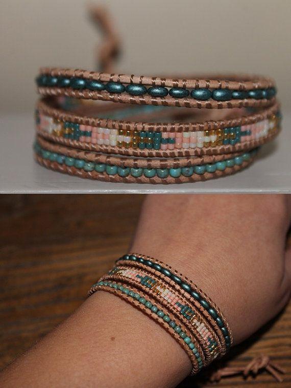 Leather Wrap bracelet, Miyuki delica, wrapbracelet, 3 layer bracelet, beautiful…