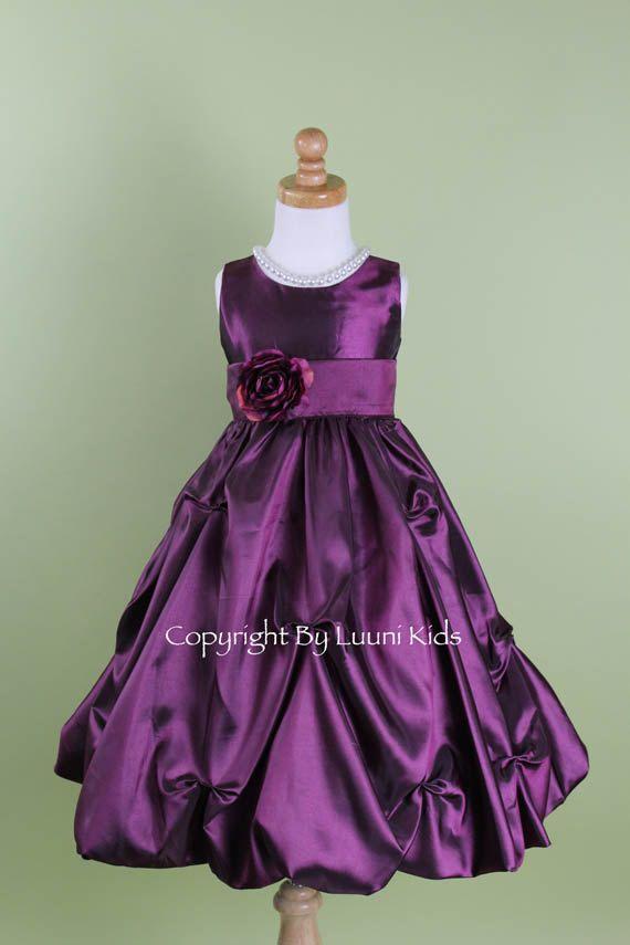 Flower Girl Dress  Purple PLUM Pick Up Dress  Wedding by LuuniKids, $37.99