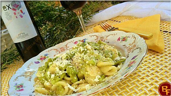 Pasta con fave e ricotta affumicata con Vini papi