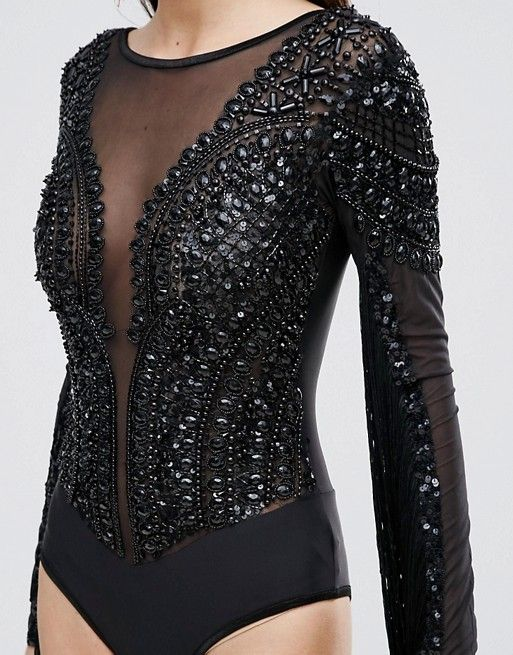 A Star Is Born Jewel Embellished Bodysuit With Fringe Sleeves
