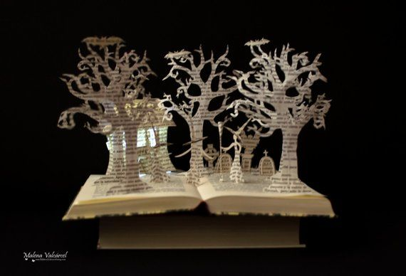 Three Witches Halloween Book Sculpture Altered Book