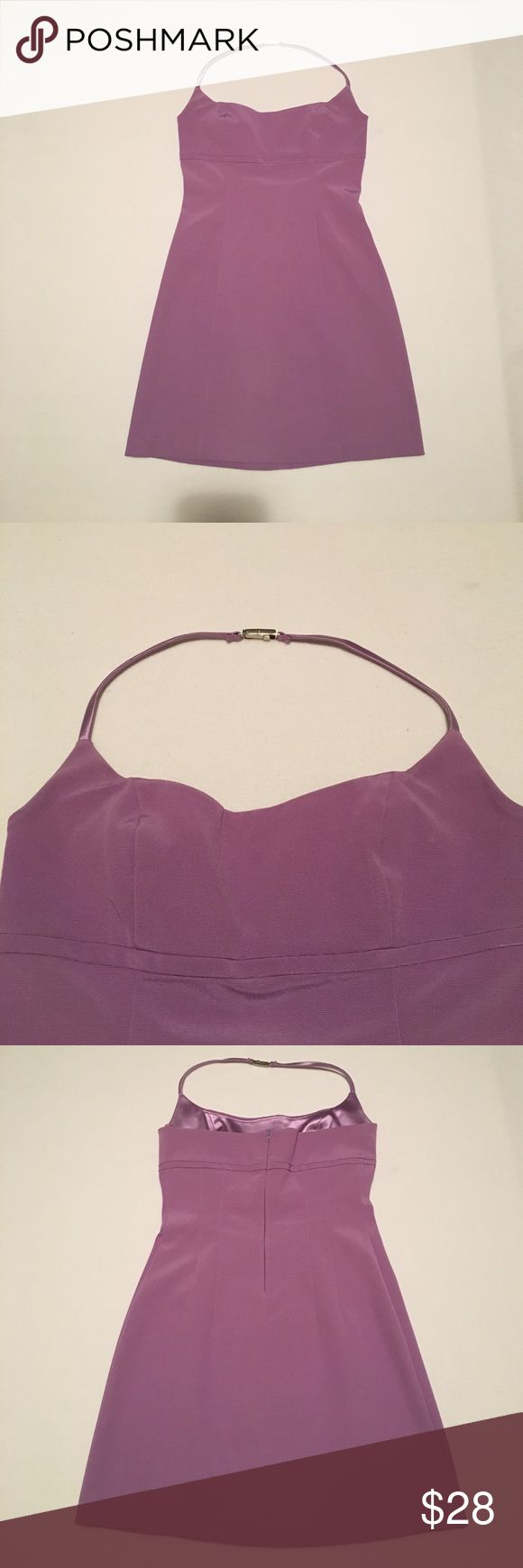Lavender mini halter dress Short halter dress with clasp behind neck. Zipper in back. Size S. Very good condition. Style #4512 Cut #2257. 50% Rayon, 40% acetate, 10% Lycra. maria bianca nero Dresses Mini