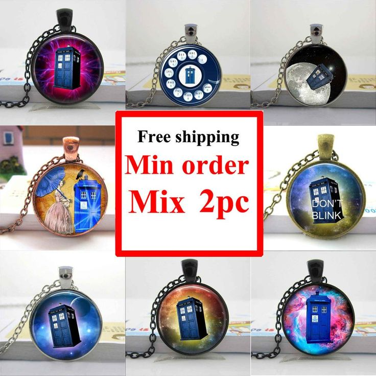 Wholesale art glass pendant Doctor who tardis space necklace doctor who police box jewelry glass cabochon dome pendant