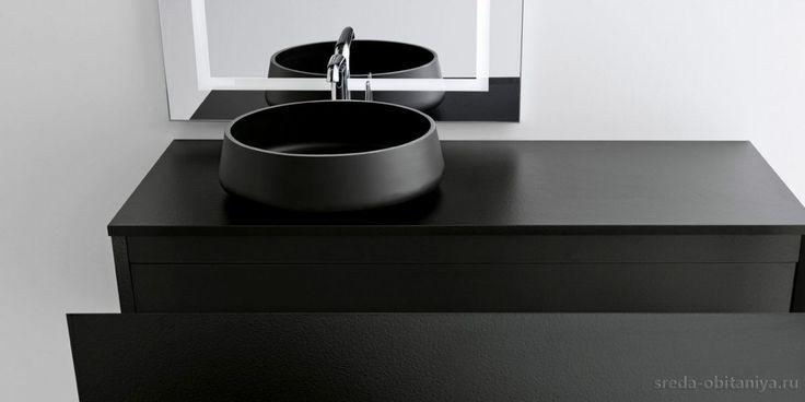 Раковина накладная черная OASIS Origine Alumix