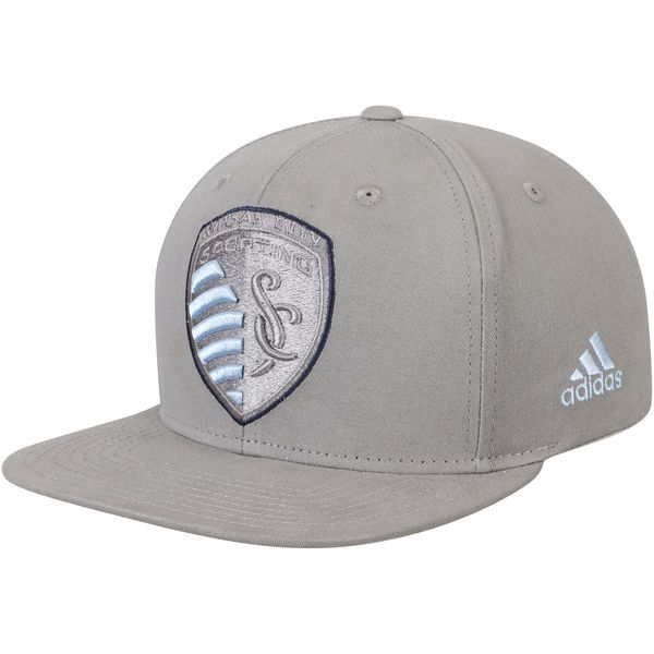 36a7c9c1 Men's Sporting Kansas City adidas Gray Tonal Adjustable Snapback Hat ...