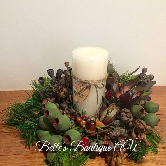 Gumnut Wreath Rustic Holiday Candle Ring Wedding Centrepiece Custom Holiday Decor Australian Native Wreaths Christmas Table Decor Holiday Decor Holiday Centerpieces Christmas Christmas Table Decorations