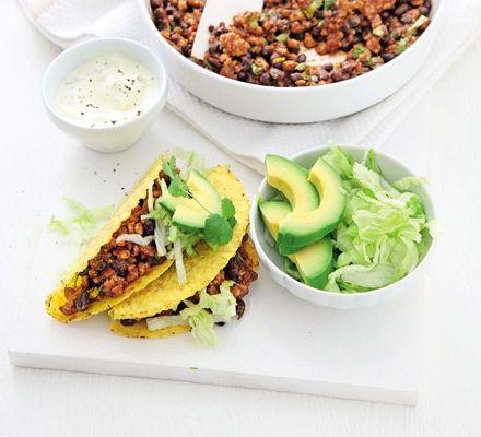 Smoky pork & black bean tacos