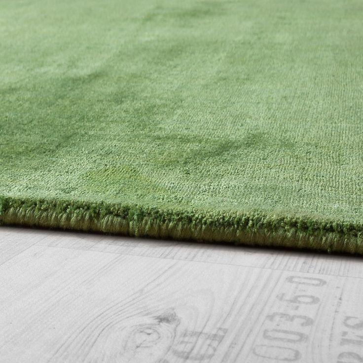 Teppich Handgefertigt Hochwertig 100 % Viskose Vintage Aufällig Meliert In Grün Wohn und Schlafbereich