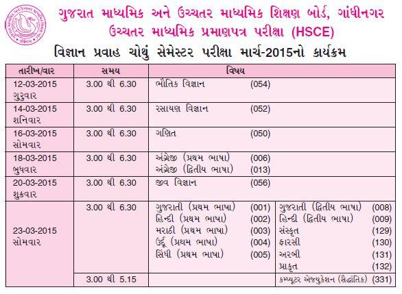 GSEB HSC exam time table 2015, GSEB HSC exam time table 2015 date, HSC gujarat board exam time table 2015, HSC exam time table 2015 gujarat board.