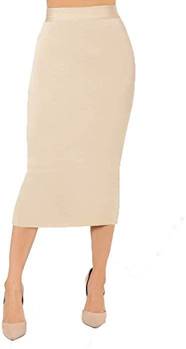 c038e1d9f Women's High Waist Bandage Bodycon Career Office Stretchy Midi Pencil Skirt  (Medium, Sand) at Amazon Women's Clothing store: