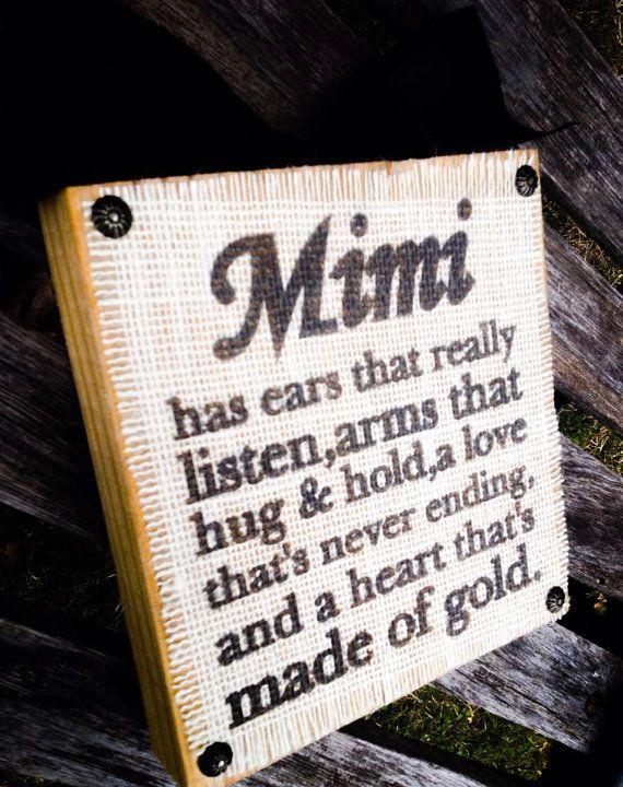 Mimi Burlap Wood Block Sign Choose your endearing name Nana Mimi Meme Mema,etc on Etsy, $19.99