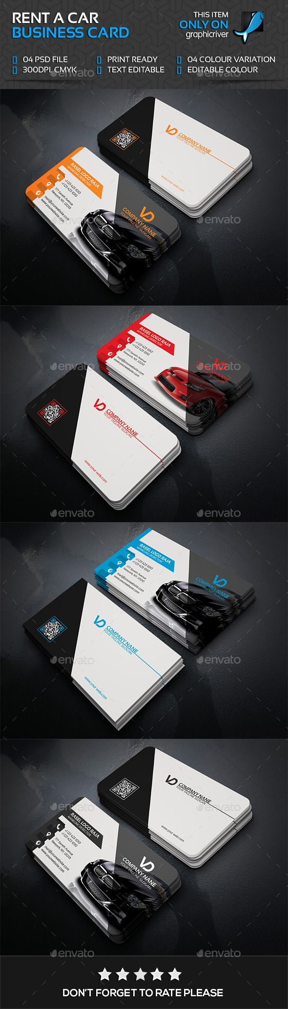 Rant A Car Business Card Template PSD #visitcard #design Download: http://graphicriver.net/item/rant-a-car-business-card/13495827?ref=ksioks
