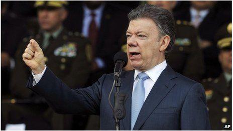 Colombia's President, Juan Manuel Santos Kolumbien' Farc, Wahlen.