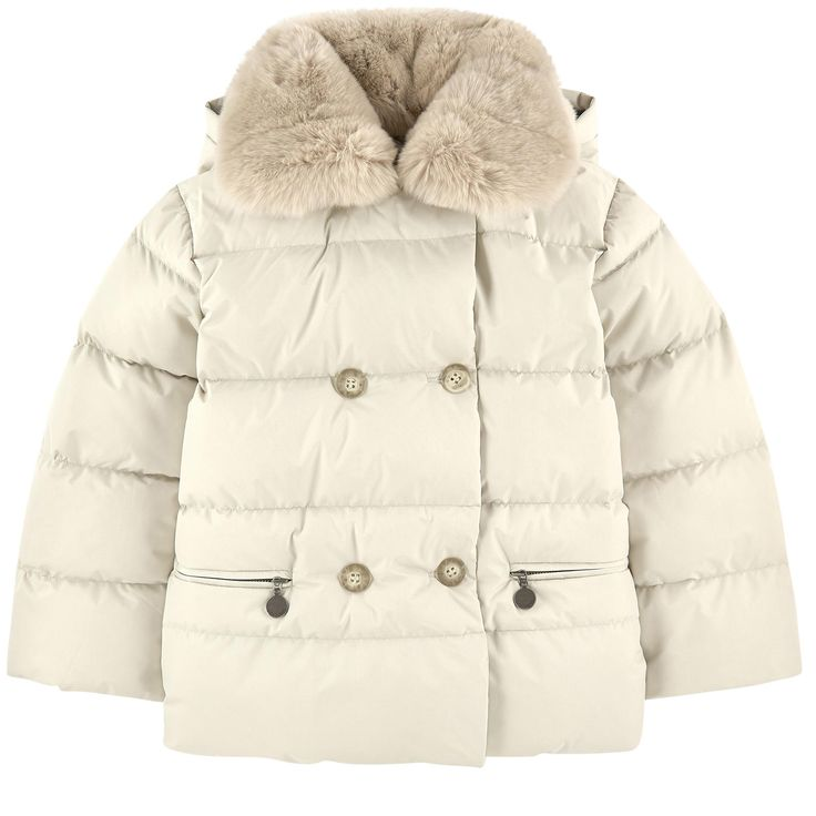 Synthetic fabric Duck and feather padding Rabbit fur Warm item Comfortable item Straight fit Large hood Detachable hood Long sleeves Front pockets Buttons on the front Buttons on the hood Zip pockets Removable fur - $ 595
