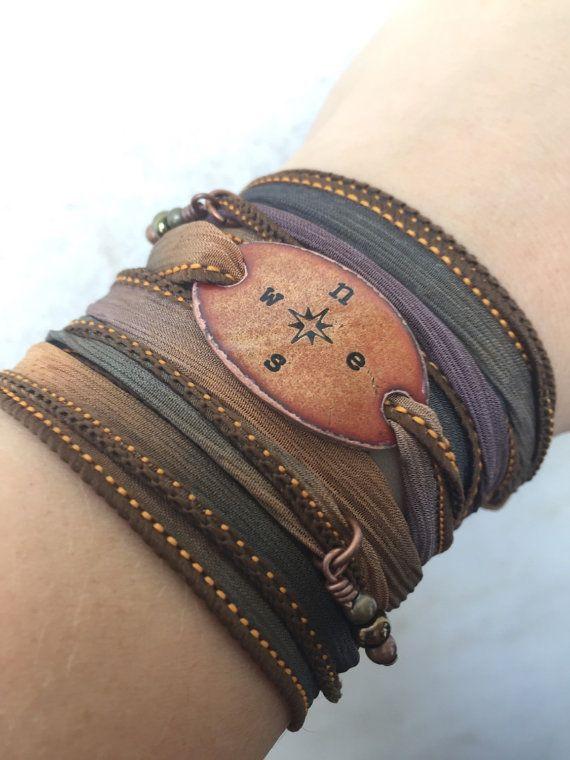 Boho Wrap Bracelet Compass Boho Silk Wrap Bracelet Silk by SailorStudio Original Design- #wrapbracelet #compass #wanderer #boho #bohojewelry #bohostyle #bohemian #gypsy #hippie #adventureawaits